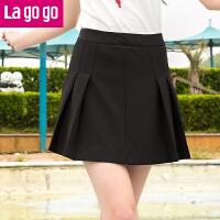 Lagogo/拉谷谷2019年夏季新款女装百搭黑色半身裙百褶a字裙高腰