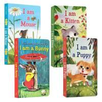 英文原版绘本 I am a bunny Kitten Puppy mouse 纸板书4册 我是一只兔子小猫小狗鼠仔 r