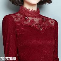 新款韩版加绒加厚打底衫长袖T恤女装保暖衣服女短款蕾丝上衣