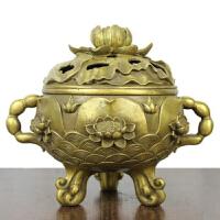 铜香炉 黄铜香炉 家居礼佛用品 铜香炉 双耳莲花熏香炉 摆件