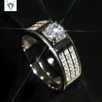 s925纯银男士戒指钻戒个性霸气活口指环情侣对戒仿真钻石婚戒简约 白金色(活口)