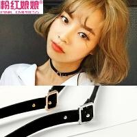 黑色锁骨链女短款颈带项链日韩国脖项饰品项圈个性皮带扣颈链脖链