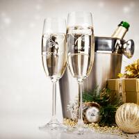DIY定制香槟酒杯高脚杯一对 闺蜜结婚礼物新婚婚庆送姐姐朋友实用一周年纪念礼物520情人节SN82 定制需3个工作(1