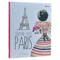 英文原版Everyone Loves Paris人人都爱巴黎 插画艺术作品书