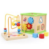 婴幼儿智力玩具1-2岁宝宝形状配对早教串珠绕珠木质百宝箱