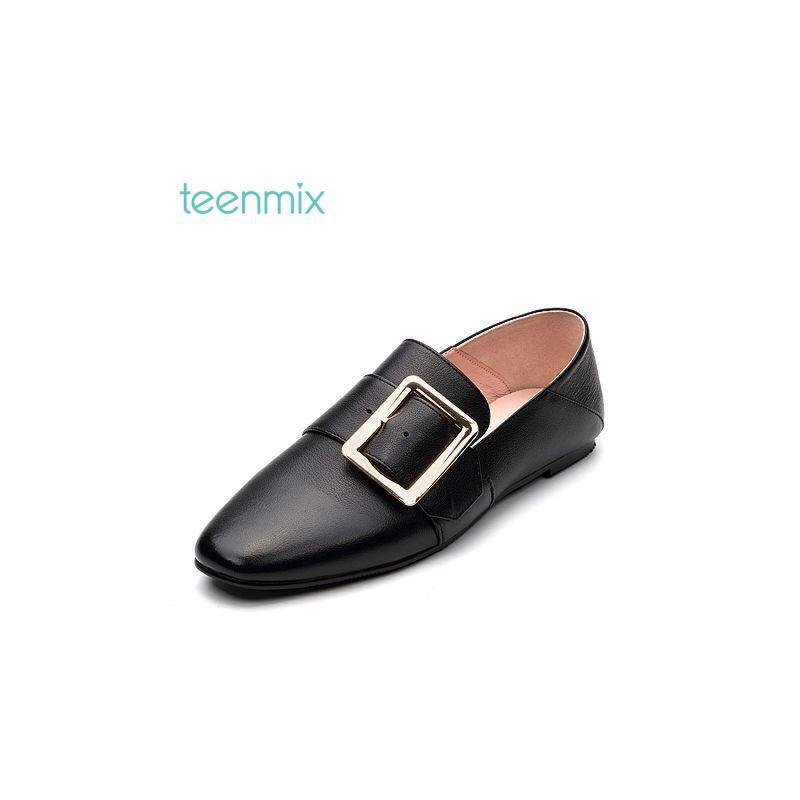 Teenmix/天美意2017秋牛皮帅气慵懒风穆勒乐福鞋女鞋76566CM7