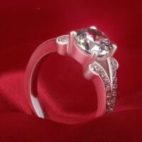 S925银镀金情侣戒指女戒日韩钻石钻戒女结婚戒对戒尾戒 材质925银镀白金 8号-22号 现货即发