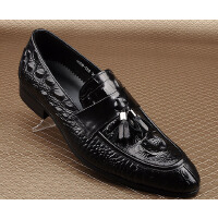 CUM 鳄鱼纹套脚男士休闲皮鞋潮流时尚潮鞋子潮男正装休闲鞋子
