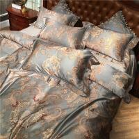 80s支欧式纹样长绒棉床单四件套 高端样板房全棉提花被套床上用品