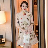 改良版旗袍女夏2018新款少女中长款复古中国风时尚欧根纱连衣裙子 花色