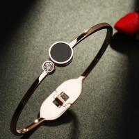 韩版气质18k玫瑰金手镯彩金简约个性手镯女
