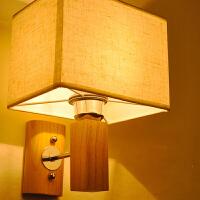 【满199-100】创意木灯 木艺楼梯 玄关过道灯 卧室床头灯 布实木壁灯YX-LMD-2126