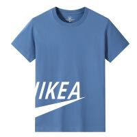 男装夏季 男士短袖T恤雾霾蓝宽松大码潮流字母印花半袖棉03
