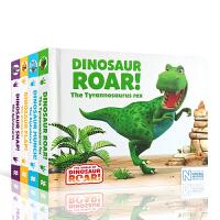 【全店300减100】英文原版绘本 Dinosaur Flap!/Snap!/Munch!/Roar!恐龙系列4本合集套