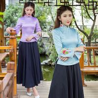 春装中式绣花唐装女上衣春装装 日常修身改良长袖旗袍上衣茶服女