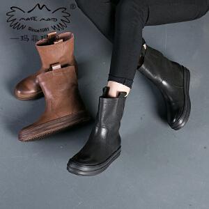 玛菲玛图  平底加绒保暖马丁靴女英伦风厚底中筒靴中跟女士皮靴362-17D