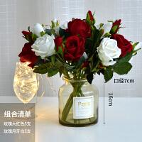 多头玫瑰花束仿真花绢花塑料花假花干花摆件室内客厅餐桌摆设装饰