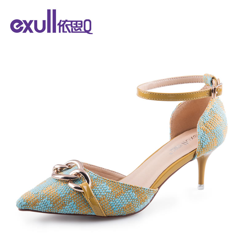 依思q秋季新款时尚尖头侧空鞋优雅细跟高跟鞋单鞋女