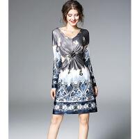 连衣裙 欧美女装秋装新款V领长袖收腰显瘦印花连衣裙女