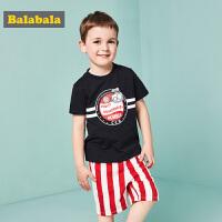 巴拉巴拉童装短袖T恤裤子两件套男童小童宝宝夏装2018新款套装潮