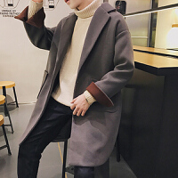 风衣男韩版帅气百搭潮流中长款宽松大衣秋冬季新款男士bf呢子外套