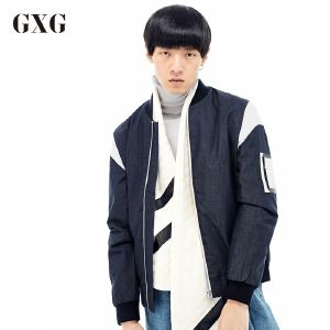 GXG夹克男装 秋季男士修身时尚都市潮流青年休闲流行牛仔蓝夹克男