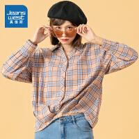 [到手价:55.9元]真维斯女装 秋季新品 全棉法兰绒色织格子长袖衬衫