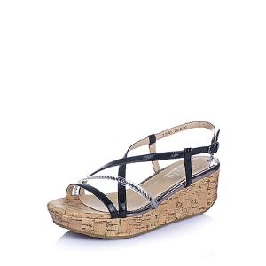 BASTO/百思图夏季专柜同款漆皮牛皮革女凉鞋TF609BL6