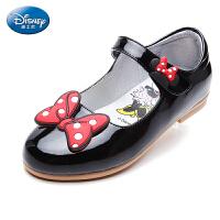 迪士尼童鞋女童蝴蝶结皮鞋17年新款搭扣公主鞋小童米妮时装鞋