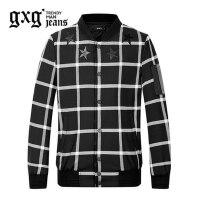gxg.jeans男装秋季休闲黑白格棒球服立领修身夹克外套潮63621139
