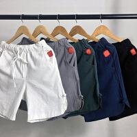 2018夏季宽松亚麻休闲裤短裤男裤子薄款纯棉运动沙滩裤男士五分裤