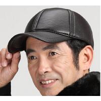 秋冬天中老年人帽棒球帽鸭舌帽男   男冬老人帽仿真皮帽男士老年帽子