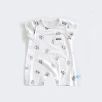 婴儿短袖连体衣夏季哈衣爬服新款男女宝宝薄款外出服