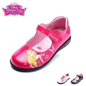迪士尼童鞋儿童皮鞋2017年新款女童时装鞋小童公主系皮鞋闪灯
