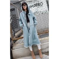 韩版学生春秋薄款收腰连帽牛仔风衣外套女中长款过膝宽松 潮大衣