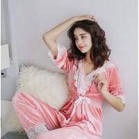 秋季韩版休闲女士长袖睡衣两件套简约蕾丝性感金丝绒家居服套装