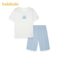 【3件5折价:65】巴拉巴拉宝宝睡衣夏季儿童家居服套装短袖T恤中裤简约清新软