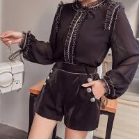 2018春季新款韩版气质时尚个性百搭木耳边衬衫+高腰短裤两件套装