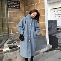 冬季女装韩版复古chic宽松单排扣茧型加厚中长款过膝毛呢大衣外套