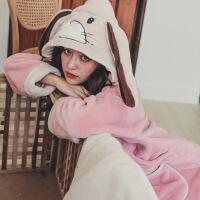 秋冬季加厚珊瑚绒喂奶孕妇家居服秋装产妇哺乳睡衣套装保暖月子服 粉红长耳懒兔-绒套装