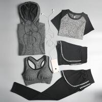 健身房运动套装女夏季新款瑜伽服显瘦速干跑步健身服套装五件套运动服 2