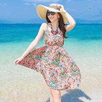 夏新款 波西米亚碎花吊带裙连衣裙露背显瘦度假沙滩短裙子 如图