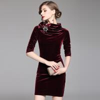 复古丝绒连衣裙春装女新款时尚秋冬高端中长款欧美显瘦长袖