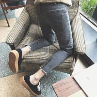 2017春季权志龙同款裤脚拉链设计小脚牛仔裤破洞猫须哈伦长裤男潮