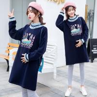 孕妇冬装套装时尚款2018新款印花高领加绒卫衣托腹裤子两件套