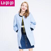 【每满200减100】Lagogo拉谷谷2016冬新款浅蓝色毛呢外套中长款大衣女