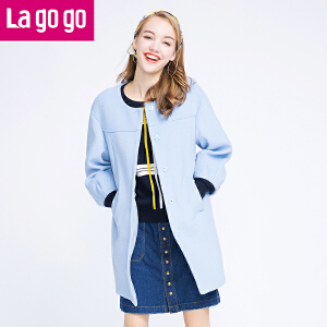 【618大促-每满100减50】Lagogo拉谷谷2016冬新款浅蓝色毛呢外套中长款大衣女