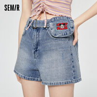 森马牛仔短裤女2021年夏季新款可脱卸腰包纯棉牛仔裤