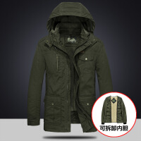 工装棉衣男中长款冬季加绒加厚保暖棉袄大码宽松休闲冬装外套