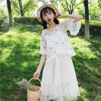 夏季新款女装小清新甜美刺绣花朵上衣+中长款蕾丝吊带连衣裙